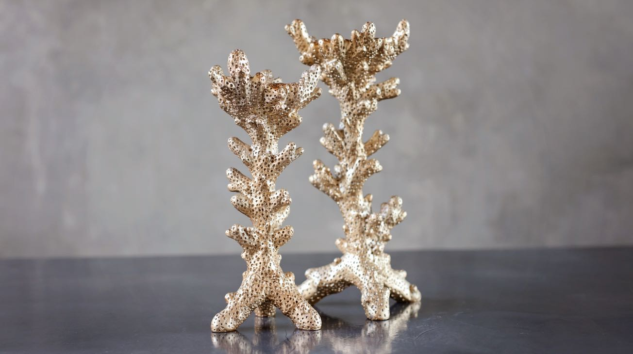 Hire Gold Coral Candle Sticks Luxury Decor
