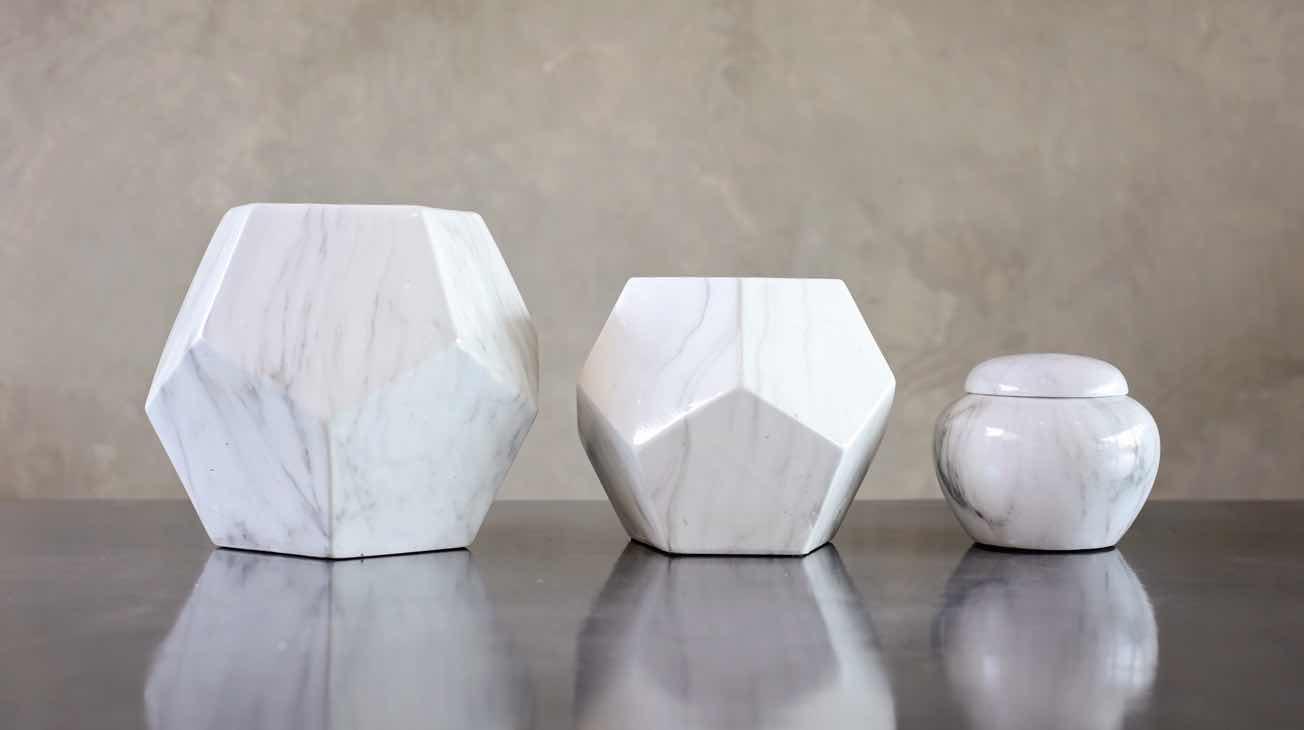 Hire Marble Geometric Vases Luxury Decor
