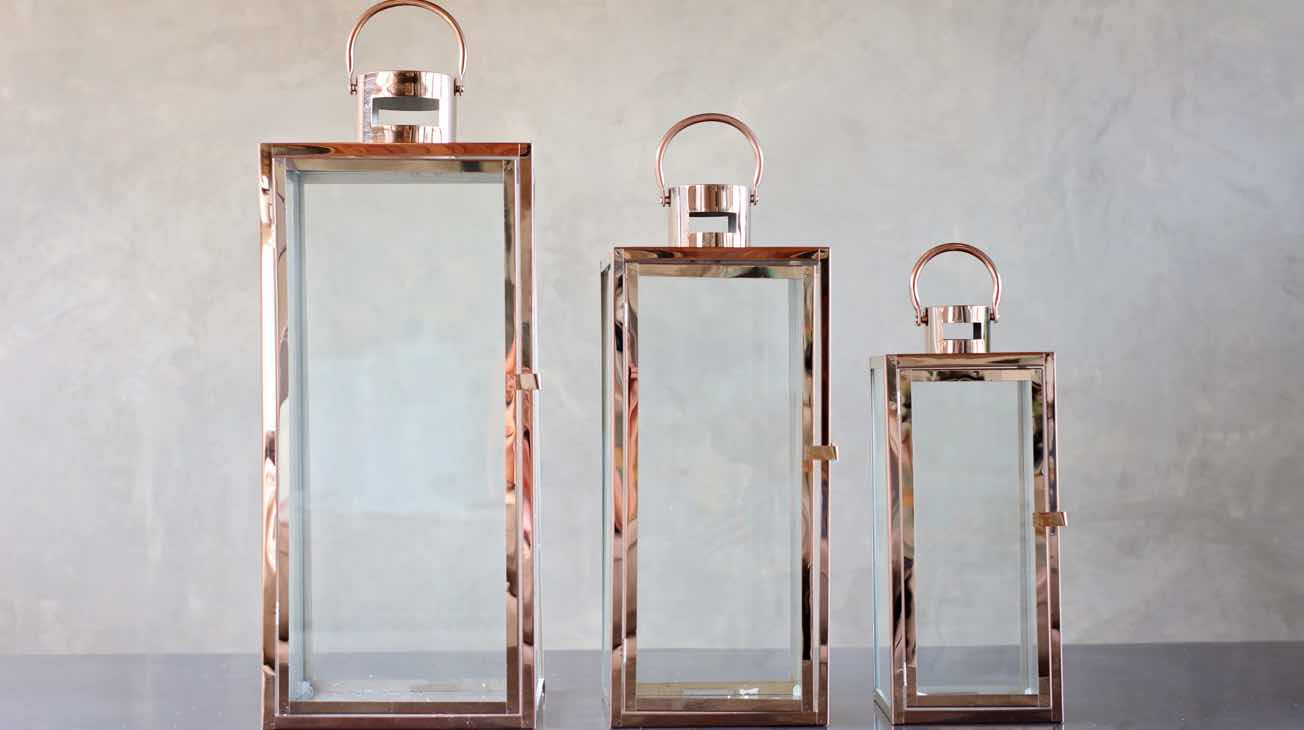 Hire Rose Gold Lanterns Luxury Decor